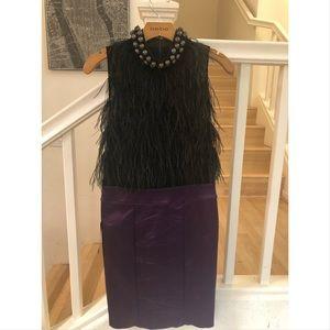 Bebe feather top satin dress M